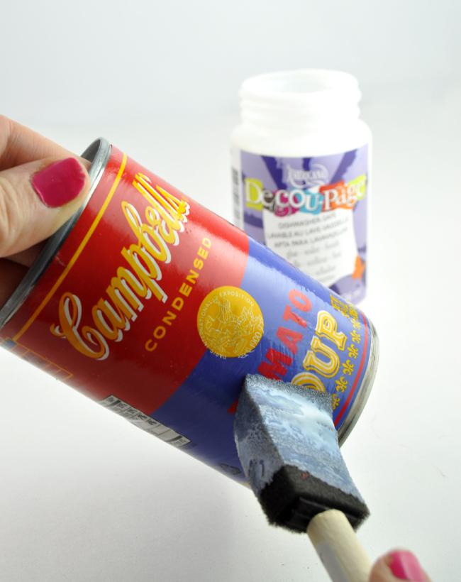 decoupaged soup cans planter craft idea