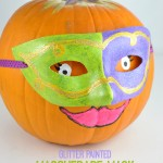 masquerade mask decorated pumpkin craft