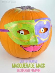 masquerade mask decorated pumpkin craft