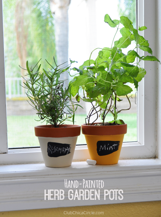 Chalky Finish herb garden pots