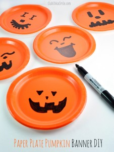 Paper Plate Pumpkin Bunting Banner Easy Craft Idea