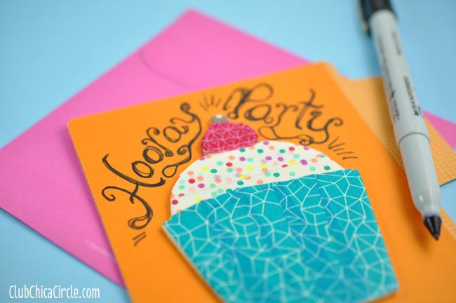 Washi Tape Cupcake custom card