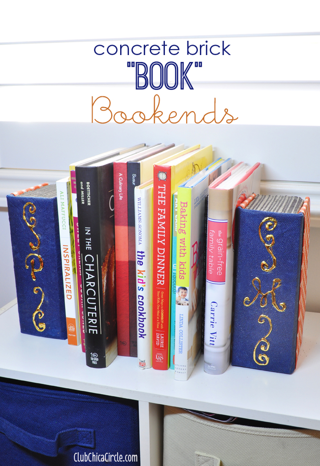 Concrete Brick Book Bookends Easy Craft Idea