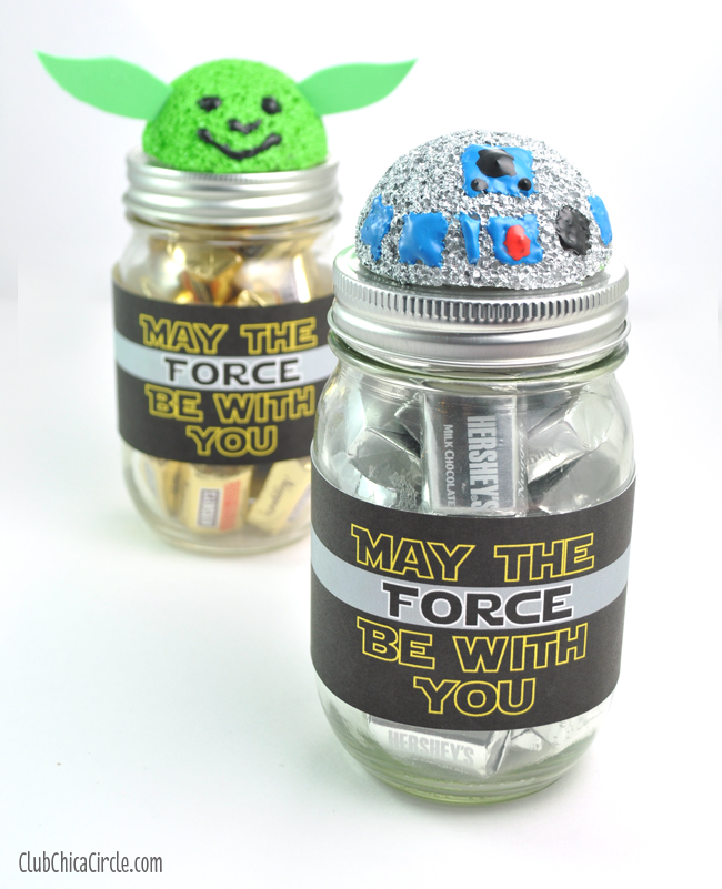 R2D2 and Yoda mason jars candy jar gift idea
