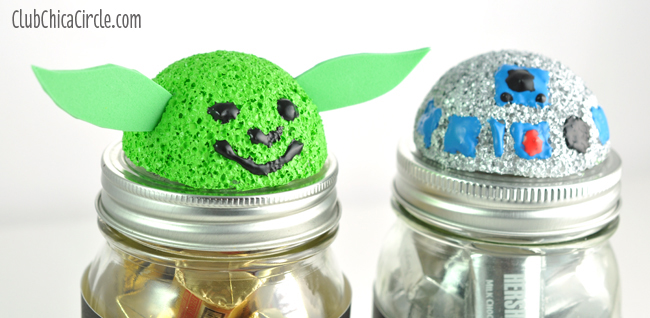 Star Wars easy mason jar craft idea - yoda and r2d2