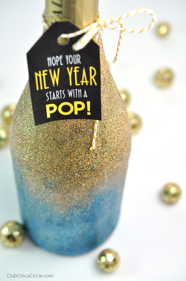 Gold Glittered Champagne Bottle for New Years Gift idea