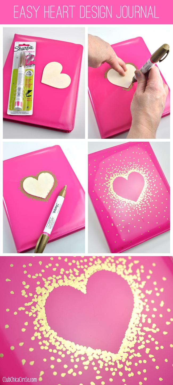 Gold Sharpie Heart Design on Journal