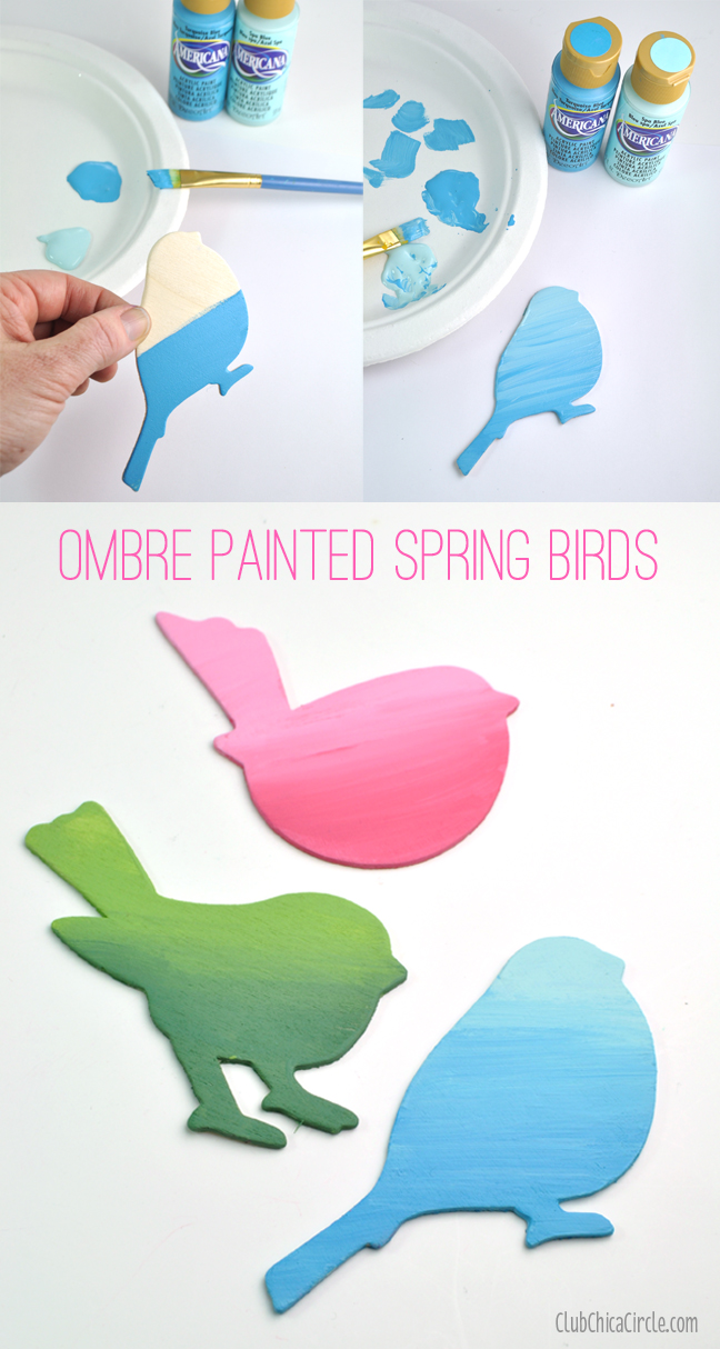 Pretty Ombre Painted Spring Birds Wall Art DIY Club Chica Circle - Diy wall decor birds