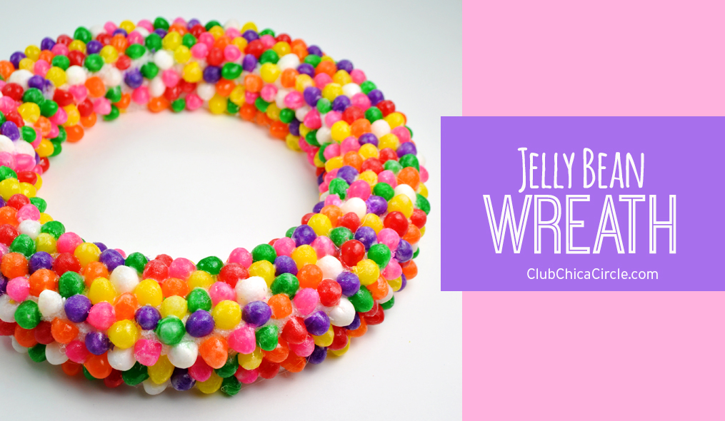Spring craft jelly bean wreath DIY @clubchicacircle
