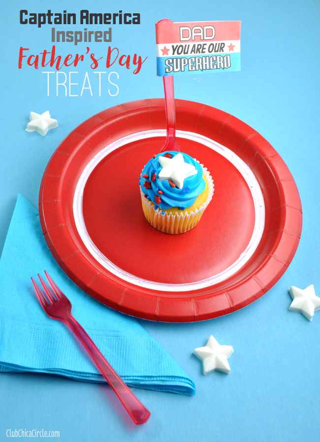 Captain America Inspired Superhero Cupcakes idea @clubchicacircle