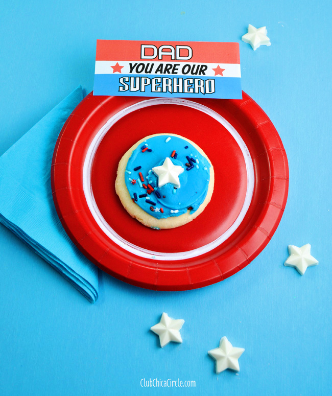Captain America cookies for Father's Day craft idea