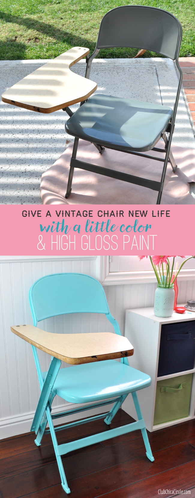 Give a vintage chair a new look with color and high gloss paint