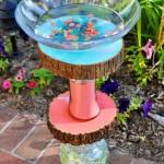 Homemade Vase and Wood Slice Bird Bath upcycle DIY