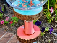 Homemade Vase and Wood Slice Bird Bath upcycle DIY