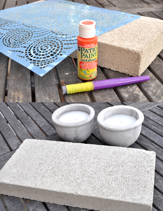 concrete block and patio paint transformed into outdoor candle decor