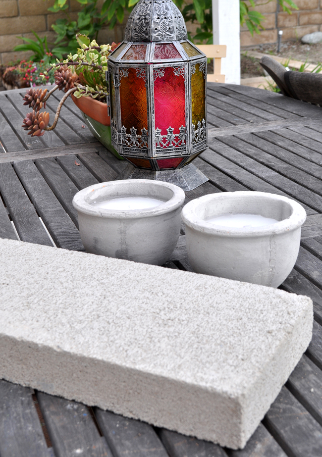 outdoor cement centerpiece easy DIY project