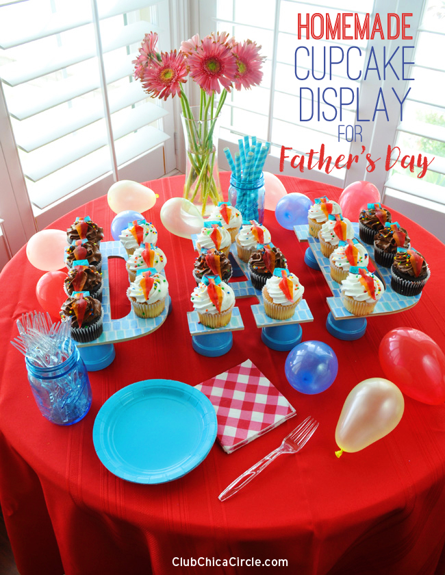 DAD Father's Day cupcake display easy DIY and craft idea