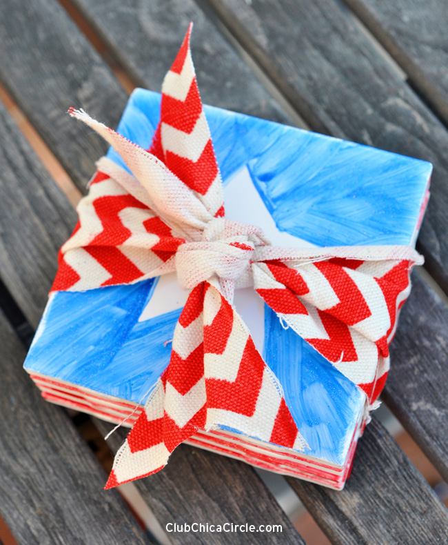 Patriotic Coasters Homemade Hostess Gift Idea copy
