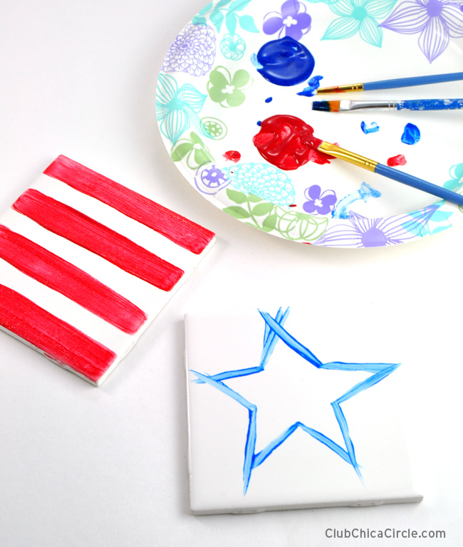 Stars and Stripes Patriotic 4th of July coasters craft idea