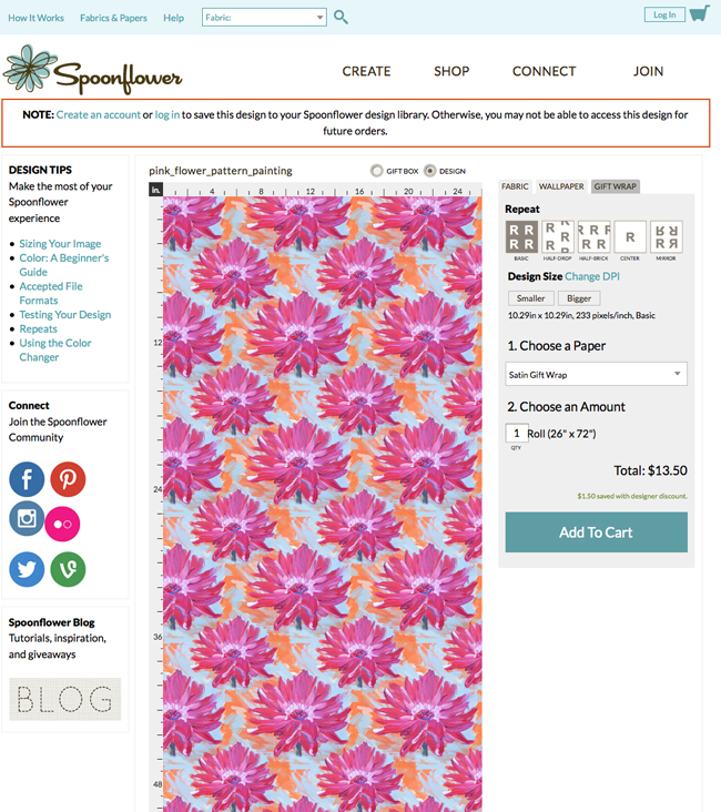 Spoonflower for personal printed wallflower