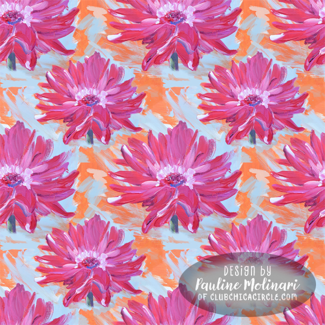 pink flower painted pattern by Pauline Molinari
