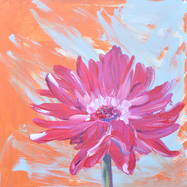 pink flower painting by Pauline Molinari