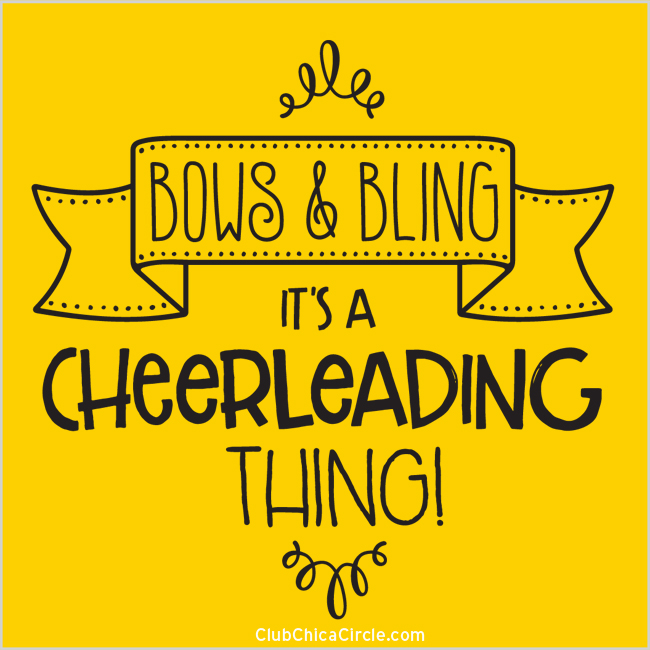 Cheerleading Quote on gold - bows and bling, it's a cheerleading thing