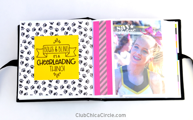 cheerleading scrapbook with quote page design