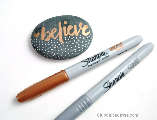 Believe hand lettered painted rock easy and fun craft