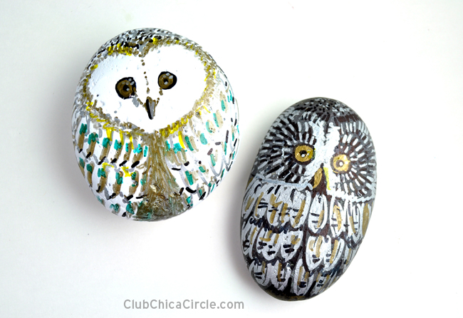 Owl Painted Rocks with markers @chicacircle