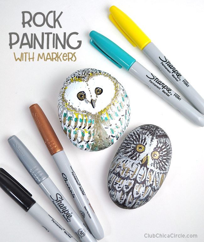 Rock Painting with Markers - Owl craft idea