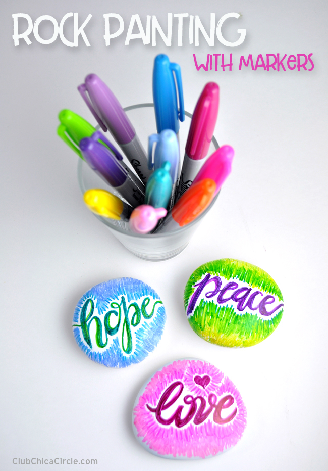 hand lettered colorful painted rocks with Sharpie markers @chicacircle