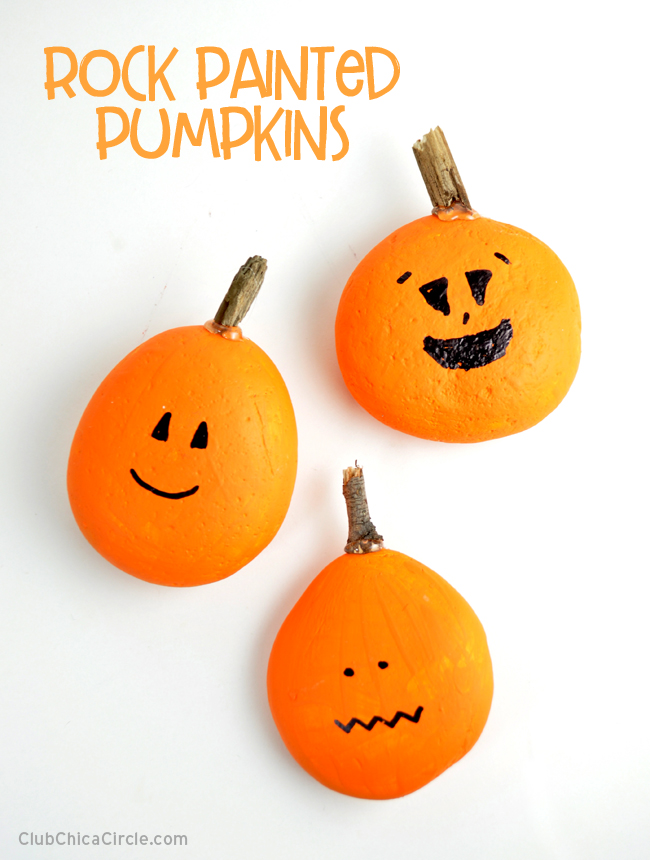 Easy Pumpkin Painted Rock Jack-o-lanterns DIY @chicacircle