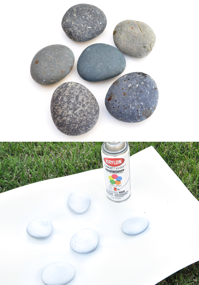 white spray painted rocks craft @chicacircle