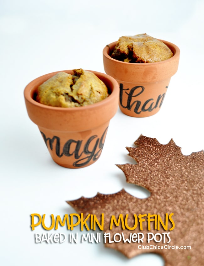 Pumpkin muffins baked in mini flower pots @chicacircle