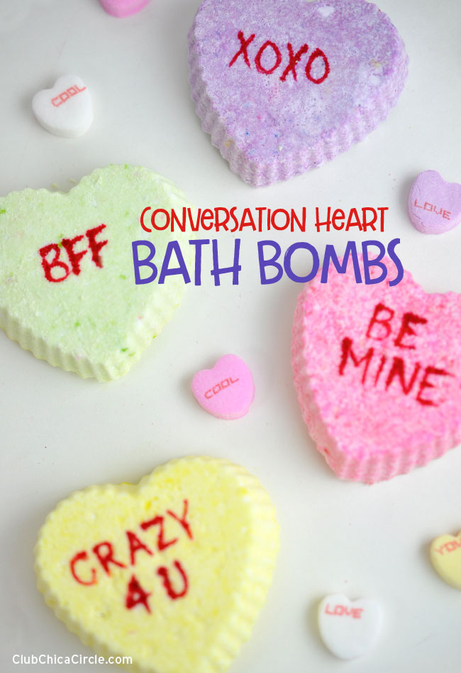 How to make homemade conversation heart bath bombs #tweencraftidea