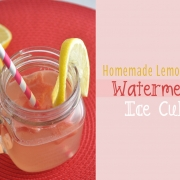 Homemade Lemonade with Watermelon Ice Cubes