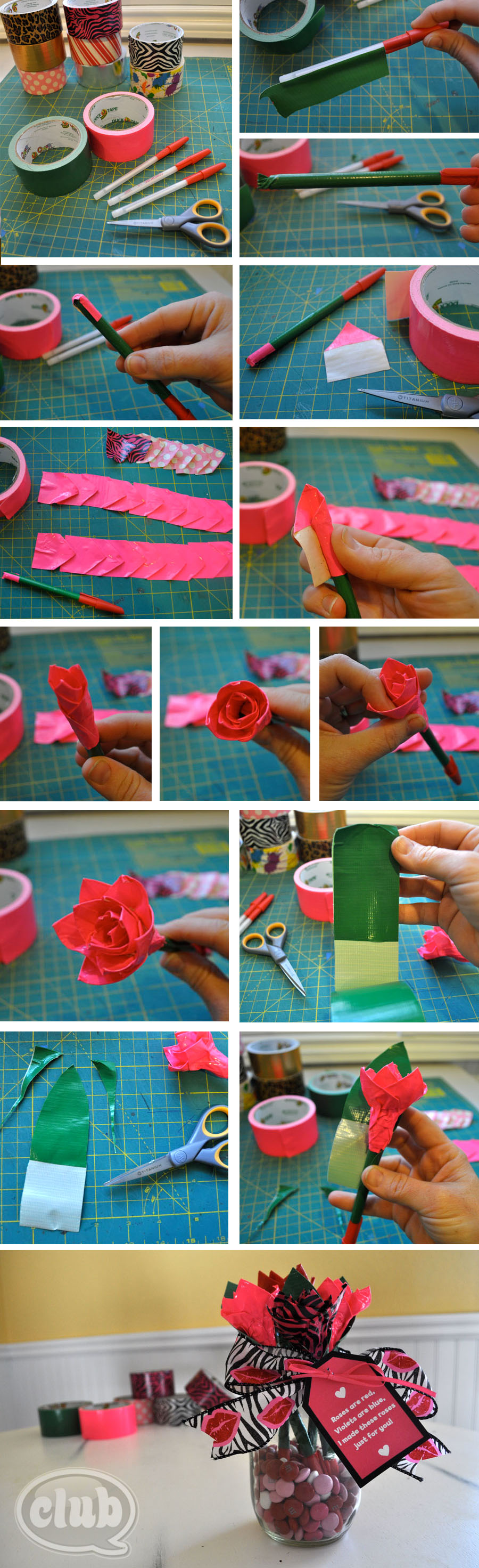 Make Your Own Duck Tape Rose Pen Bouquet