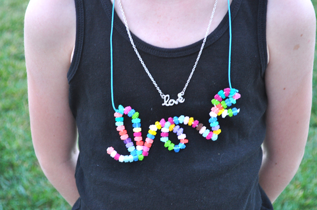 melted perler bead LOVE necklace