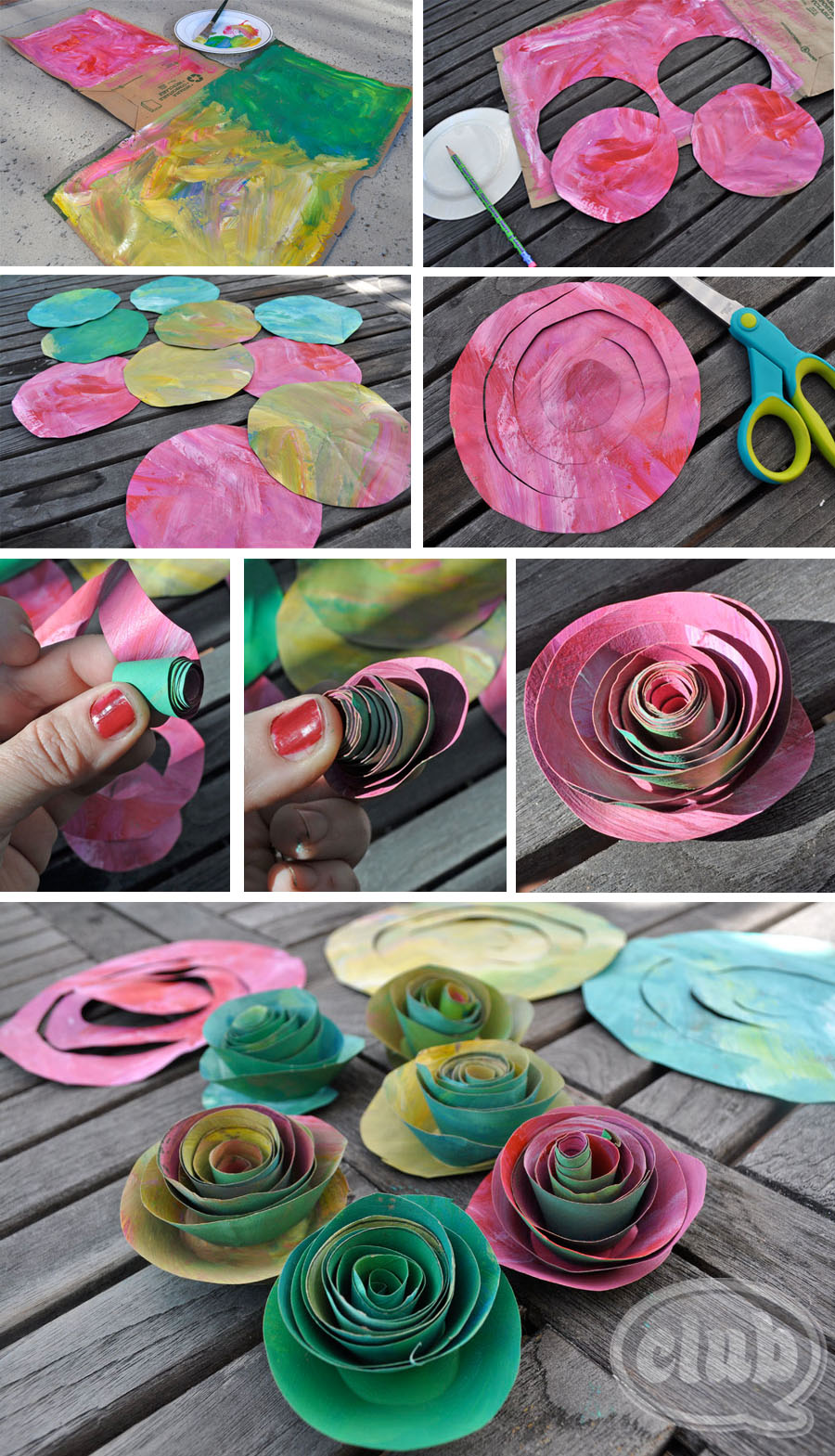 Upcycle an ordinary paper bag into a beautiful paper rose bouquet craft here is how to make your own paper bag painted rose mightylinksfo