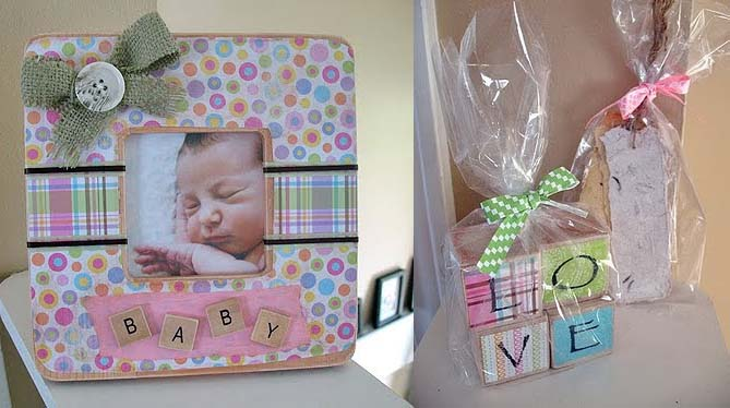 homemade baby frame and love blocks craft idea