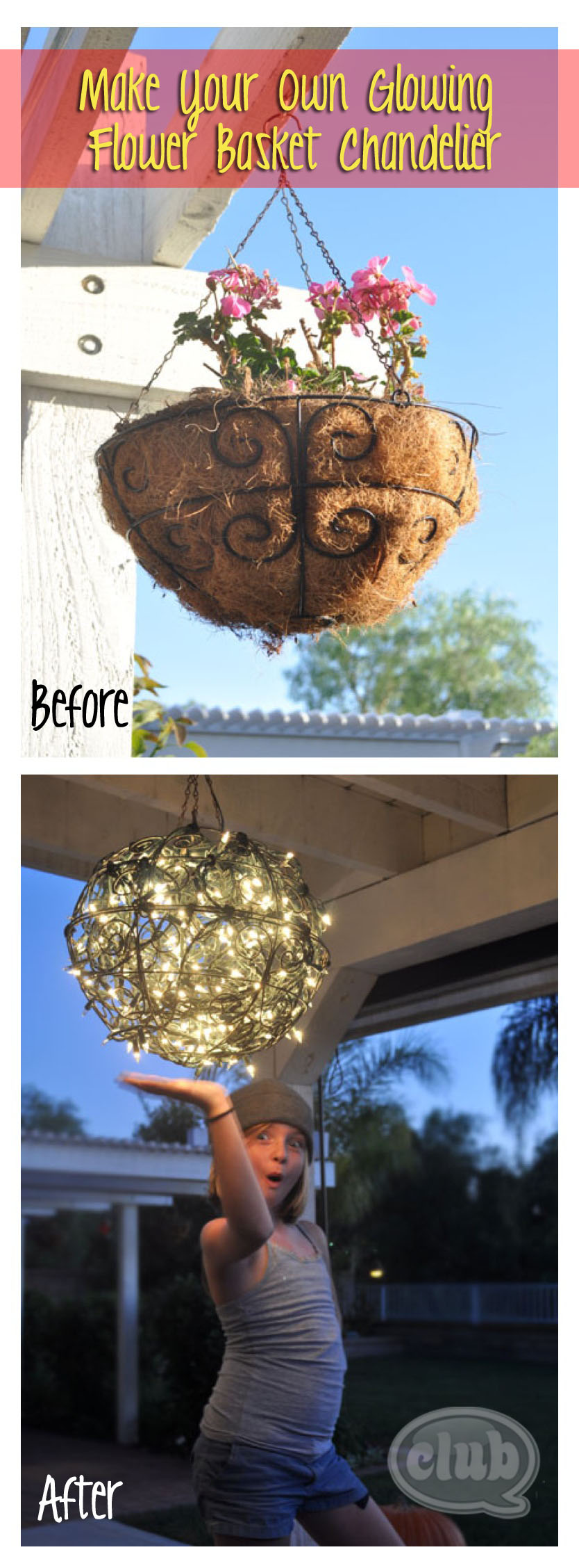 repurpose flower baskets into a glowing outdoor chandelier