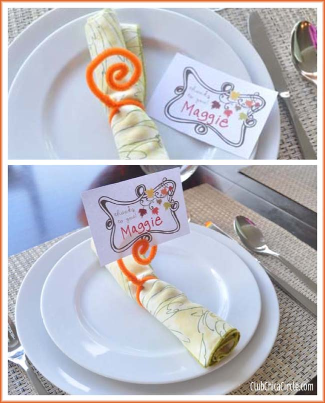 Thanksgiving free printable with placecard and pipe cleaner