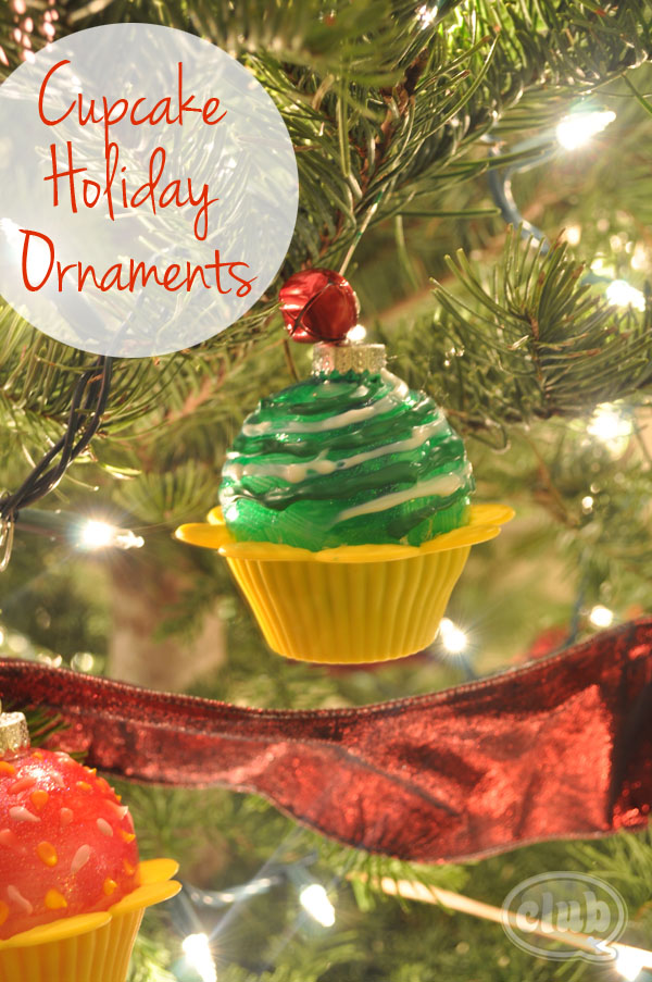 Cupcake holiday ornaments on tree