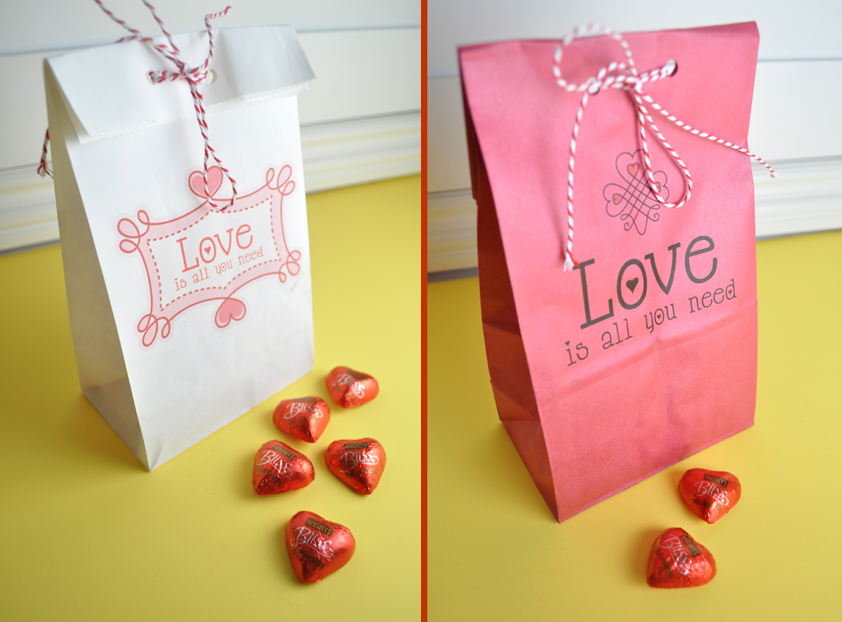 valentines printable paper bag diy