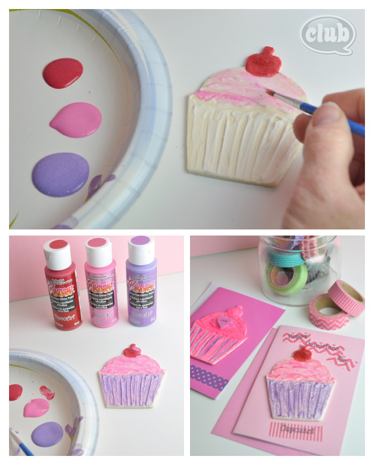 Cupcake valentines day card craft painting steps