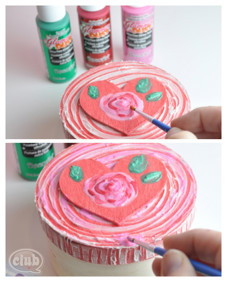 Heart and rose valentines day box painting steps