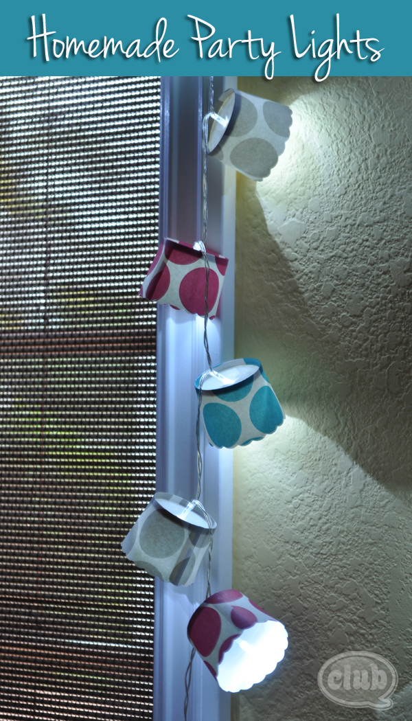 Homemade party lights decor closeup