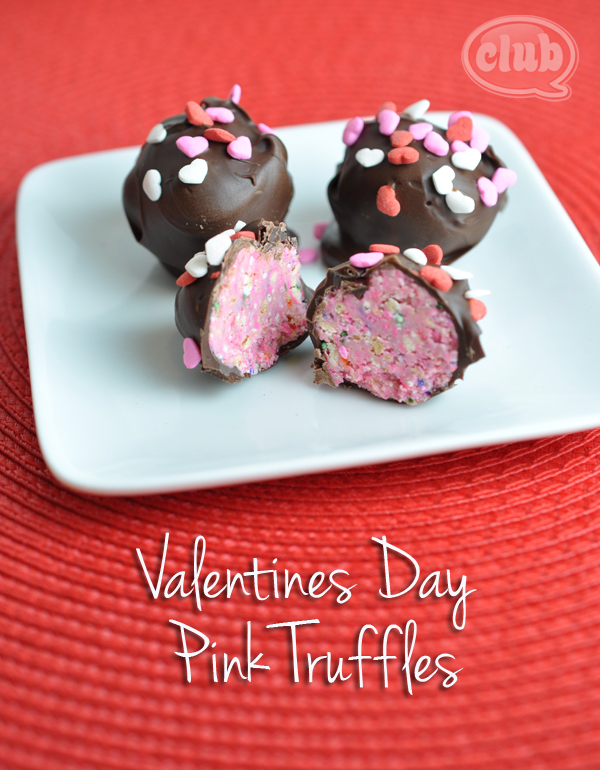 Valentines Day pink truffles