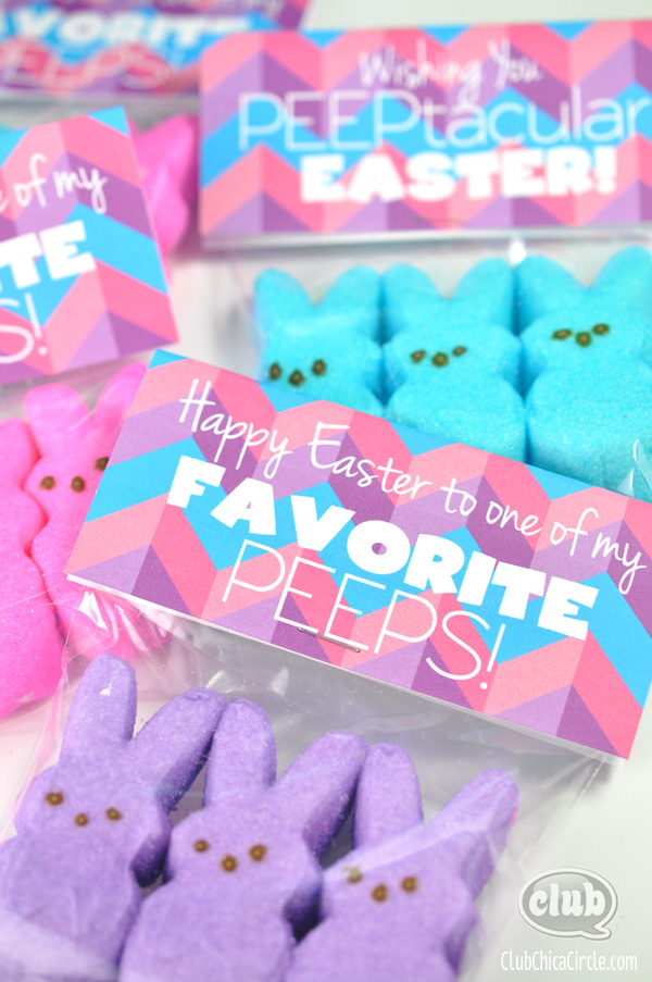Happy Easter Peeps Treat Bags with Free printable